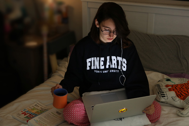 Student working from home